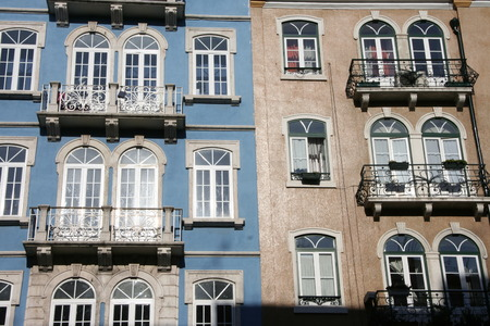 down town: Colorful building of famous down town district in Lisbon, Portugal