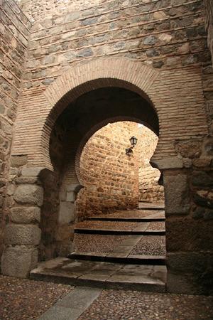 toledo: Horseshoe arch inside Toledo old town, Spain