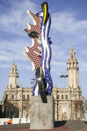 barcelone: BARCELONA-DEC 31: El Cap de Barcelone le 31 décembre 2007 à Barcelone. El Cap de Barcelone est une sculpture créée par l'artiste pop américain Roy Lichtenstein