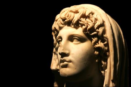 deity: MERIDA, SPAIN - MARCH 20, 2008: Veiled head of colony deity. National Museum of Roman Art in Merida, Spain