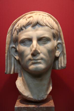 augustus: MERIDA, SPAIN - MARCH 20, 2008:  Veiled Head of Emperor Cesar Augustus. National Museum of Roman Art in Merida, Spain Editorial