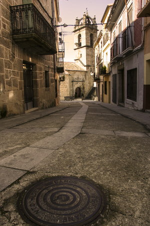 stony: Stony street of Banos de Montemayor old town, Spain Stock Photo