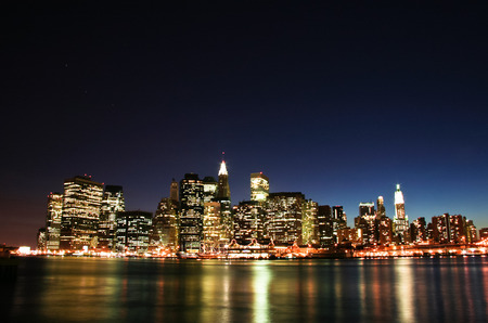 newyork: Image of New York City Skyline as viewed from Brooklyn at dusk Stock Photo