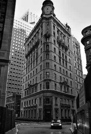 crowded space: Lower Manhattan, Financial District. Old and new buildings are crowded together competing for space Stock Photo