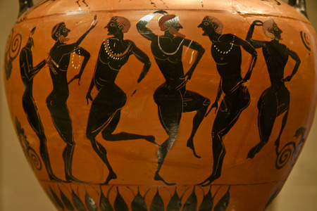greek pottery: Ancient greek vase paintings in black over red ceramic. Isolated over white background