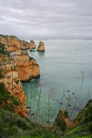 algarve: Winter seashore landscape at Lagos, Algarve, Portugal. Stormy day