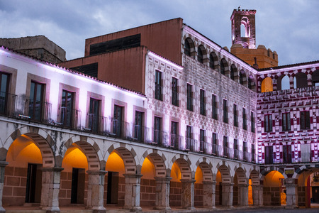 badajoz: Plaza Alta, High Square of Badajoz at twilight iluminated with led lights