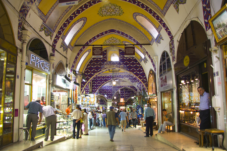 kapalicarsi: ISTANBUL, TURKEY - SEPT 7: people at Grand Bazaar, Istanbul, Turkey. Grand Bazaar is one of the largest and oldest covered markets in the world, Sept 7, 2009 in Istanbul, Turkey Editorial