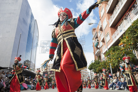badajoz: BADAJOZ, SPAIN, FEBRUARY 7: Performers take part in the Carnival parade of troupes at Badajoz City, on February 7, 2016. This is one of the best carnivals in Spain, especially highlighting massive participation of people Editorial