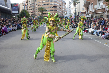 extremadura: BADAJOZ, SPAIN, FEBRUARY 7: Performers take part in the Carnival parade of troupes at Badajoz City, on February 7, 2016. This is one of the best carnivals in Spain, especially highlighting massive participation of people Editorial