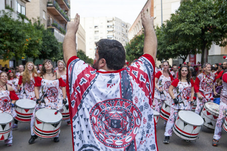 badajoz: BADAJOZ, SPAIN, FEBRUARY 7: Drummers from Batala Band perform in the Carnival parade of comparsas at Badajoz City, on February 7, 2016. This is one of the best carnivals in Spain, especially highlighting massive participation of people