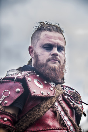 dressed up: BADAJOZ, SPAIN, FEBRUARY 9: Performer at San Roque Carnival parade at Badajoz City, on February 9, 2016. Portrait dressed up as a viking