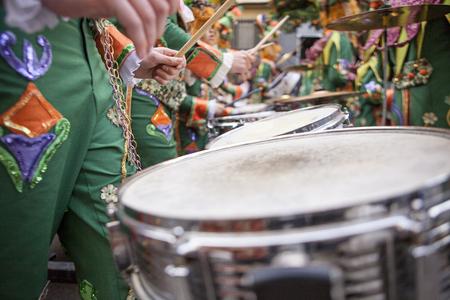 badajoz: Performers plays drums at Carnival parade of comparsas at Badajoz City, Spain
