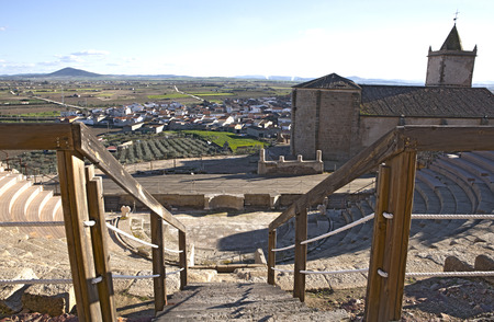 pius: Roman theatre of Medellin, Spain. High view from grandstand to stage