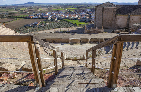 high view: Roman theatre of Medellin, Spain. High view from grandstand to stage