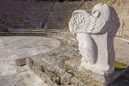 winged lion: Roman theatre of Medellin, Spain. Winged lion sculpture in orchestra side