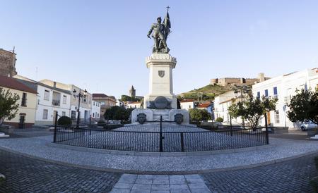 colonizer: Hernan Cortes Square, Medellin, Spain. Panoramic shot Stock Photo