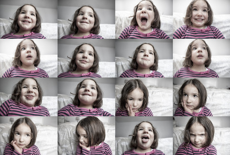 three years old: Children common expresions. Three years old little girl portraits