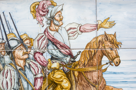 conquest: BADAJOZ, SPAIN, APRIL 16, 2015: Glazed tiles wall with America conquest scenes. Hernan Cortes Mexico entry, on April 16, 2015, Spain
