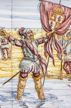 conquest: BADAJOZ, SPAIN, APRIL 16, 2015: Glazed tiles wall that America conquest scenes. Nuñez de Balboa dicovering Pacific Ocean, on April 16, 2015, Spain