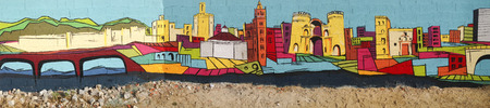 badajoz: Badajoz, Spain - 16 December, 2015: Street painted wall with Badajoz skyline made by anonymous artist