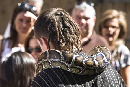 costumed: BADAJOZ, SPAIN - SEPTEMBER 25: Costumed merchant man with snake participant at the Almossasa Culture Festival on September 25, 2013 in Badajoz, Spain Editorial