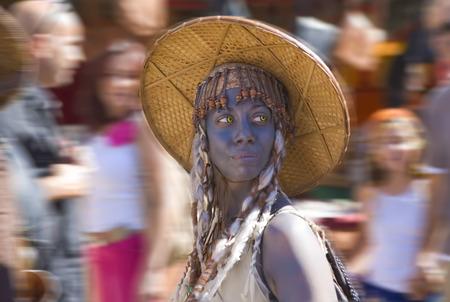 costumed: BADAJOZ, SPAIN - SEPTEMBER 25: Costumed participant at the Almossasa Culture Festival on September 25, 2013 in Badajoz, Spain