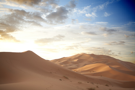 erg: Sunrise over Erg Chebbi dunes area, Merzouga, Morocco Stock Photo