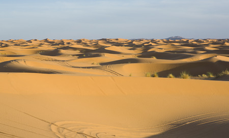 erg: Several sand hill at Erg Chebbi in the Sahara desert.  Ers are large dunes formed by wind-blown sand. Morocco Stock Photo