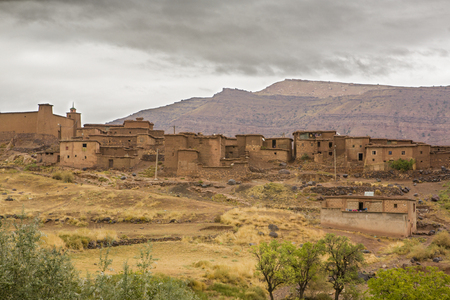 treck: Moroccan berber village in the mountains with terrace culture. Setti Fadma Atlas. Ourika valley, Morocco Stock Photo