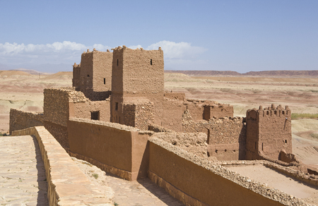 dwelling mound: A view of the tall buildings made from clay in Ait Ben Haddou