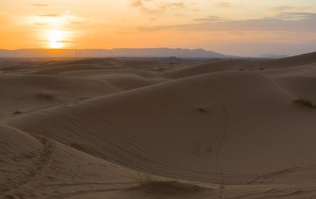 erg: Several sand hill at Erg Chebbi in the Sahara desert at sunset, Morocco