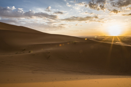 erg: Sunrise over Erg Chebbi dunes, Merzouga, Morocco