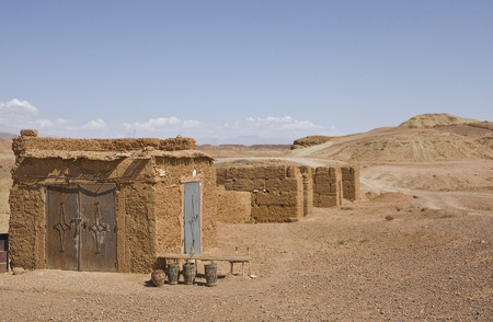 lonelyness: Ksar Ait Ben Haddou lonely hills and houses, a fortified city, or ksar, along the former caravan route between the Sahara and Marrakech Stock Photo
