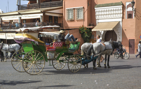 moroccan culture: MARRAKESH, MOROCCO - OCTOBER 18: View of a  carriage driver sleeping on streets of the  Marrakechs Medina on October 18th, 2011 in Marrakesh, Morocco