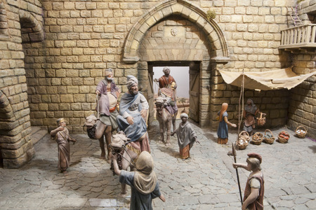 portal de belen: Badajoz, Spain - January 4, 2013: Three Magic Kings have come to Bethlehem. Diorama built by Local Association of Friends of Cribs, Badajoz, 2013