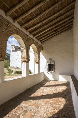 mudejar: Mudejar style shrine porch of Our Lady of Ara, Fuente del Arco, Badajoz, Spain Stock Photo