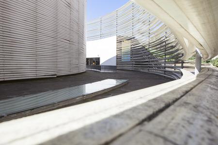 cano: Badajoz, Spain, April 19: Congress Center building designed by Jose Selgas and Lucia Cano. Fiberglass rings