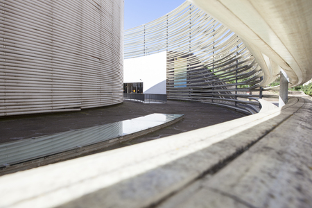 cano: Badajoz, Spain - April 1, 2016: Congress Center Manuel Rojas. Designed by Jose Selgas and Lucia Cano. Fiberglass rings