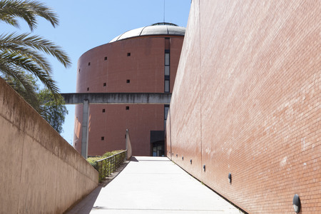 congress center: Badajoz, Spain - April 1, 2016: MEIAC Museum building. Situated on the area of the former prison of Badajoz, redesigned by JA Galea. Entry ramp