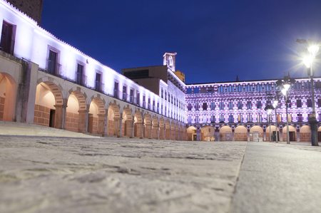 low angle view: Hight square of Badajoz,  illuminated by led lights at twilight. Low angle view from the floor