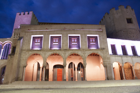 badajoz: Hight square of Badajoz,  illuminated by led lights at twilight. Former city hall