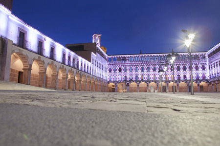 badajoz: Hight square of Badajoz,  illuminated by led lights at twilight. Low angle view from the floor