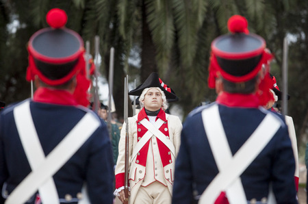 badajoz: Badajoz, Spain - May 25, 2016: spanish troops during the Armed forces day. 6th Infantry Regiment Saboya period dressed Editorial
