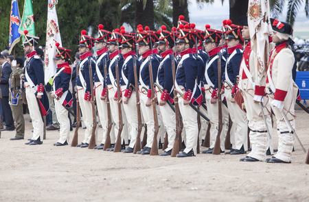 regiment: Badajoz, Spain - May 25, 2016: spanish troops during the Armed forces day. 6th Infantry Regiment Saboya period dressed Editorial