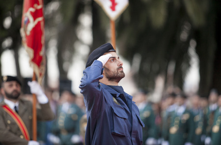 a memorial to fallen soldiers: Badajoz, Spain - May 25, 2016: spanish troops during the Armed forces day. Spanish air force infantry soldier honoring fallen