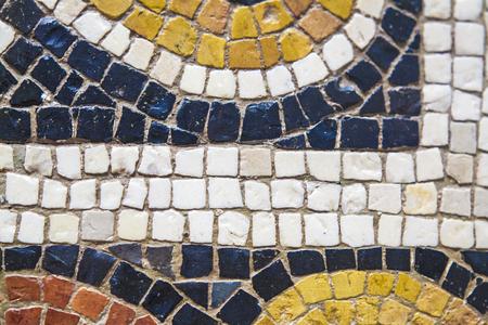 polychrome: Roman polychrome mosaic with geometrical shapes. Closeup Stock Photo
