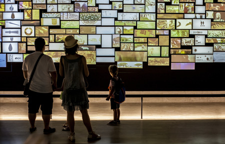 archeological: Madrid, Spain - July 10, 2016: Family visitors view a video installation at National Archeological  Museum of Madrid
