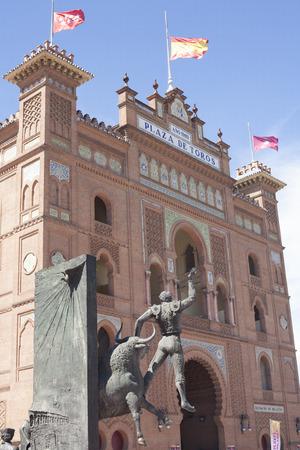 bull rings: Madrid, Spain, July 12, 2016: Bullring of Las Ventas with Bullfighter sculpture