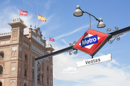 Subway Station Entrance Sign in Madrid, Spain. Ventas Editorial